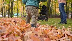Ребёнок предпринимая меры его первые шаги в парке День осени акции видеоматериалы