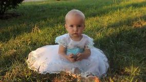 Ребёнок сидя на траве в белом платье и держа ель-конус Заход солнца в лете сток-видео