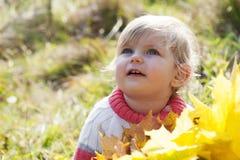 Ребёнок с листьями осени Стоковое Фото