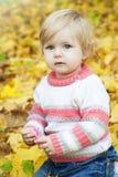 Ребёнок с листьями осени Стоковые Фотографии RF