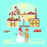 Ребёнок с снеговиком иллюстрация вектора