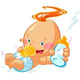 Ребёнок шаржа счастливый усмехаясь держа бутылку и куклу молока иллюстрация вектора