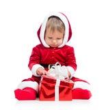 Ребёнок Santa Claus с коробкой подарка Стоковая Фотография RF