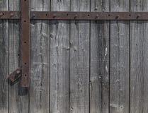 древесина пакгауза сбора винограда текстуры металла элемента двери предпосылки зодчества старая сельская Стоковое Изображение