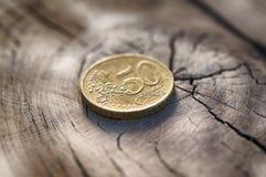 древесина таблицы евро монетки Стоковое Изображение