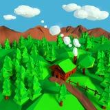 древесины журнала lodge звероловства дома forester кабины иллюстрация штока