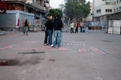 Революционеры в квадрате Tahrir. Стоковое фото RF