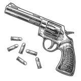 Револьвер с пулями Иллюстрации года сбора винограда гравировки вектора бесплатная иллюстрация