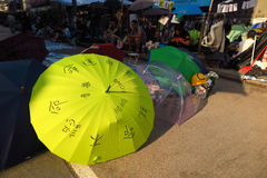 Революция зонтика в Mong Kok Стоковое Изображение