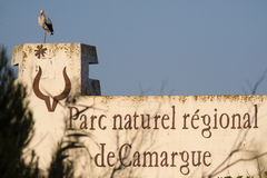 Региональный парк Camargue, знак Стоковое Изображение RF