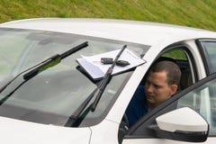 Регистрация документов, для арендовать автомобиль, для другой персоны Стоковое Изображение