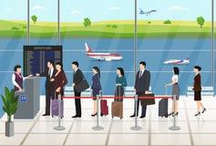 Регистрация пассажиров авиапорта ждать в линии Стоковое Фото