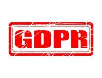 Регулировка защиты данных GDPR общая белая предпосылка с изолированным штемпелем Стоковое Фото