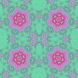 Регулярн симметричное флористических орнаментов красное фиолетовое фиолетовое салатовое Стоковая Фотография