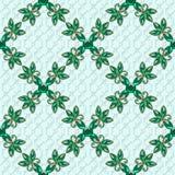 регулярн текстура 3D с стеклянными цветками Зеленые ювелирные изделия на зеленой предпосылке вакханические иллюстрация вектора