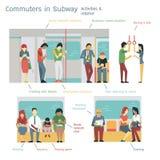 Регулярные пассажиры пригородных поездов метро Стоковые Фото