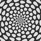 Регулярн черно-белая завитая картина выровнянная радиально Линия иллюстрация полутонового изображения кольца абстрактная фракталь иллюстрация штока
