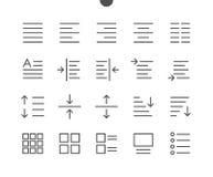 Редактируйте пиксел текста совершенный Хорошо произведенный вектор тонко выравнивает значки иллюстрация вектора