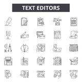 Редакторы текста выравнивают значки, знаки, набор вектора, линейную концепцию, иллюстрацию плана иллюстрация вектора