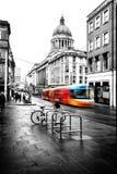 Редакционный трамвай центра города Ноттингема стоковые фото