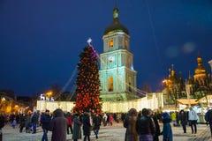 редакционо Kyiv/Украина - 13-ое января 2018: ` S Нового Года справедливое на квадрате Sophia Стоковое Изображение