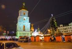 редакционо Kyiv/Украина - 13-ое января 2018: ` S Нового Года справедливое на квадрате Sophia стоковая фотография