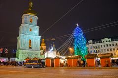 редакционо Kyiv/Украина - 13-ое января 2018: ` S Нового Года справедливое на квадрате Sophia Стоковое Фото