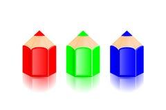 Режим цвета RGB Прочитанные, зеленые и голубые карандаши Вектор Illustratio Стоковое Изображение