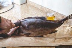 Резать больших вялых рыб Около кружки пива Стоковые Изображения RF