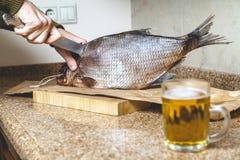 Резать больших вялых рыб Около кружки пива Стоковое Фото