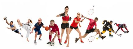 Резвитесь коллаж о kickboxing, футбол, американский футбол, баскетбол, хоккей на льде, бадминтон, Тхэквондо, теннис, рэгби