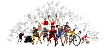 Резвитесь коллаж о kickboxing, футбол, американский футбол, баскетбол, хоккей на льде, бадминтон, Тхэквондо, теннис, рэгби стоковые фото