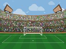 Резвитесь стадион с сетью цели футбола, зеленой травой, трибунами, вентиляторами и голубым небом с облаком Арена Footbal Плоское  иллюстрация штока