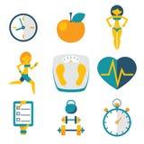 Резвитесь фитнес и изолированная здоровьем установленная значками современная ультрамодная плоская иллюстрация вектора Стоковое Изображение