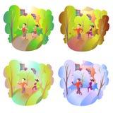 Резвит деятельность в природе во время всех сезонов Спортсмены бегут через парк в любой погоде Лето, осень, зима и Стоковые Фото