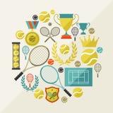 Резвит предпосылка с значками тенниса в плоском дизайне бесплатная иллюстрация