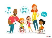 Резвит семья С ограниченными возможностями дети в кресло-колясках играя шарик и имеют потеху с их другом тренировать иллюстрация штока