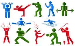 Резвит люди в различных представлениях боксере, игроке в гольф, конькобежце иллюстрация штока
