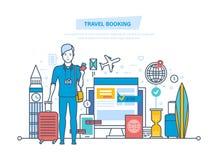 Резервирование перемещения Ресервирование гостиницы, приобретение билета, обслуживание клиента, регистрация бесплатная иллюстрация
