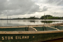 Резервуар Brokopondostuwmeer увиденный от Ston EIland - Суринама Стоковое фото RF