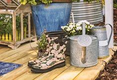 Резиновые ботинки на террасе Стоковая Фотография RF