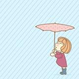 Резиновые ботинки, розовый плащ, зонтик с флористической предпосылкой печати) голубой Стоковое Фото