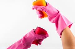 Резиновые перчатки с губкой Стоковая Фотография