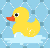 Резиновый значок утки Желтая утка также вектор иллюстрации притяжки corel Стоковое Фото