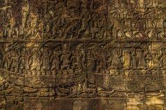 Резное изображение в виске Angkor Wat, Камбодже стоковое фото rf