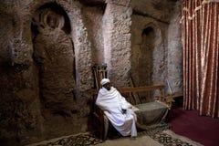 Резное изображение в монолитовой церков, Lalibela Стоковая Фотография RF