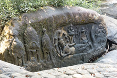 Резное изображение камня Kbal Spean стоковое фото