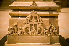 Резное изображение красивое крупного плана экстерьера индусского виска Стоковая Фотография RF