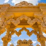 Резное изображение красивое крупного плана экстерьера индусского виска Стоковое Фото