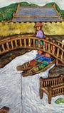 Резное изображение Таиланда культурное каменное на стенах сильно, beauti Стоковое Изображение RF